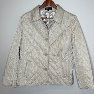 Della Spiga tan quilted barn chore button front collared jacket with pockets M